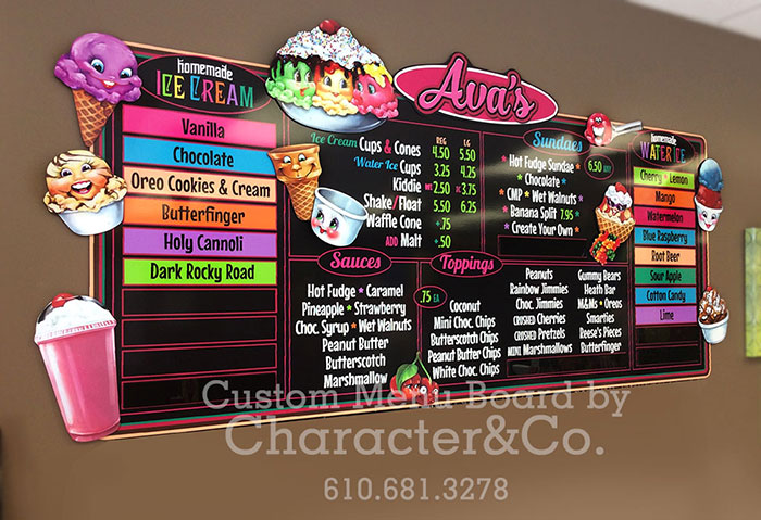 Ice Cream Menu Board by Character & Company