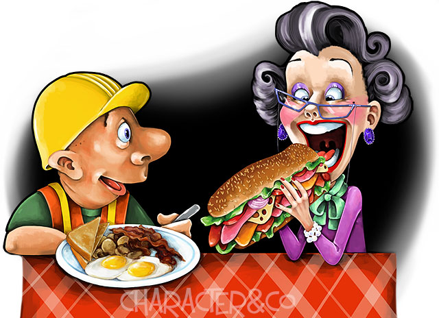 Funny Construction Worker and Woman eating lunch