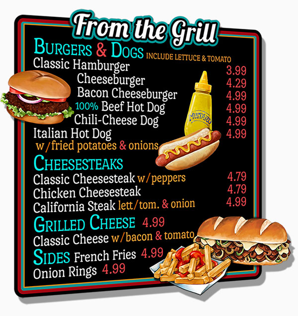 Custom Burgers & Grill Menu Board