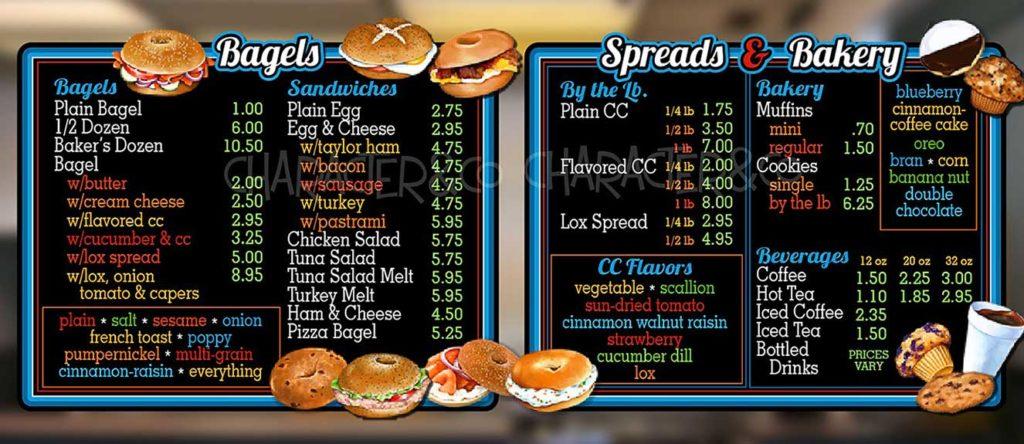 Custom menu boards for bagel shop