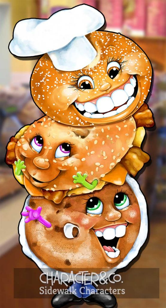 Three happy bagels sidewalk character sign