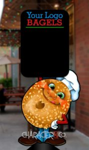 charming bagel character daily special menu board