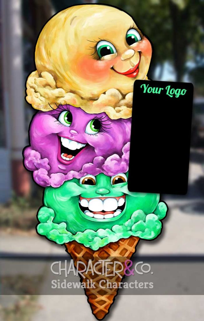 Triple ice cream cone sidewalk character sign