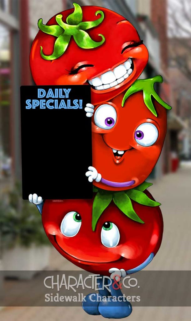 Adorable tomato sidewalk character sign