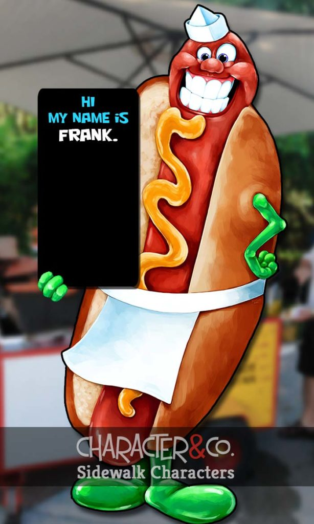 Happy lifesize hotdog sidewalk character