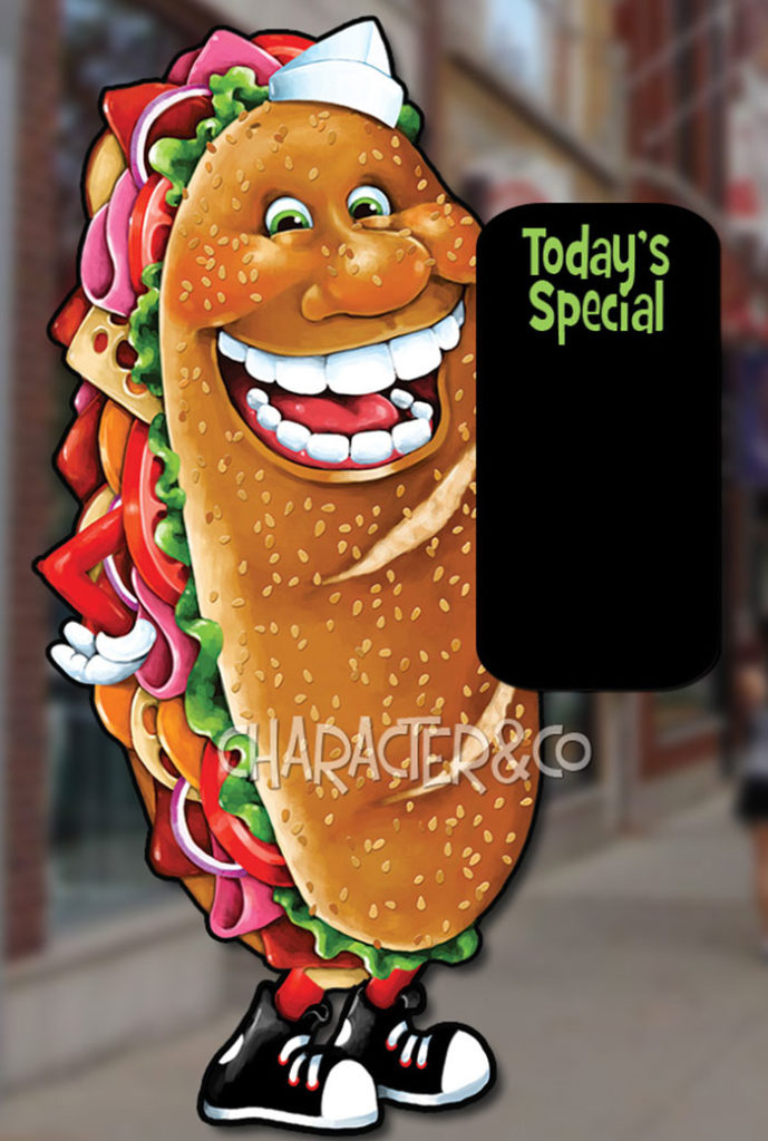 Giant happy submarine sandwich sign
