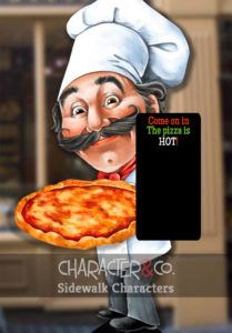 Italian pizza chef painted sidewalk character sign
