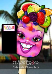 Painted fresh fruit popsicle sidewalk character sign