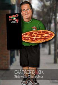 custom sidewalk character of pizzeria owner
