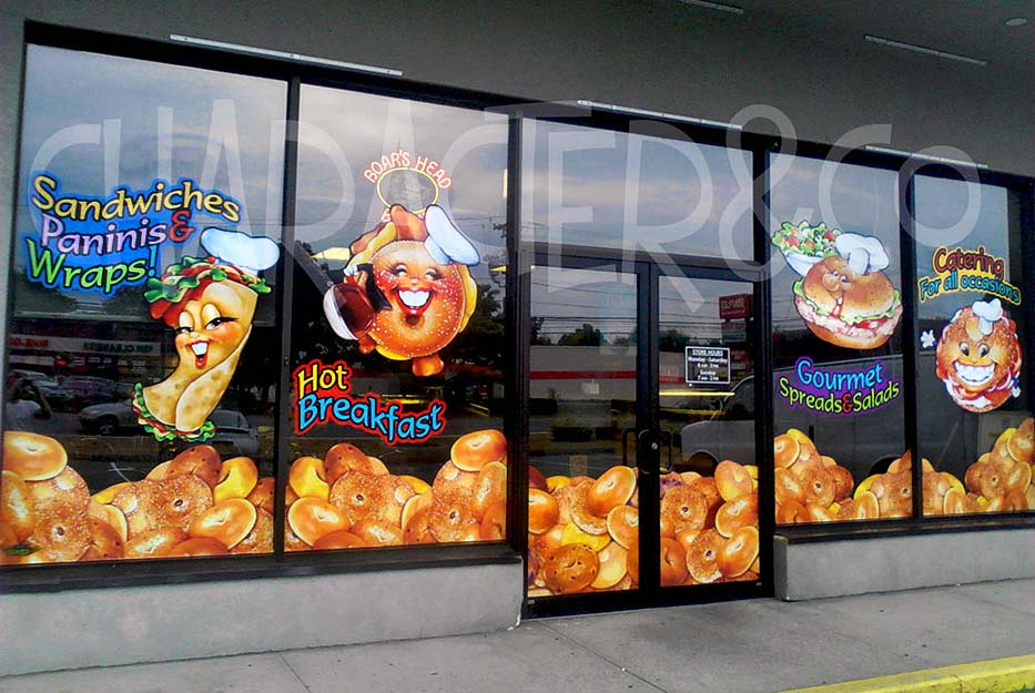Custom storefront window graphics for Bagel Business by Character&Co.