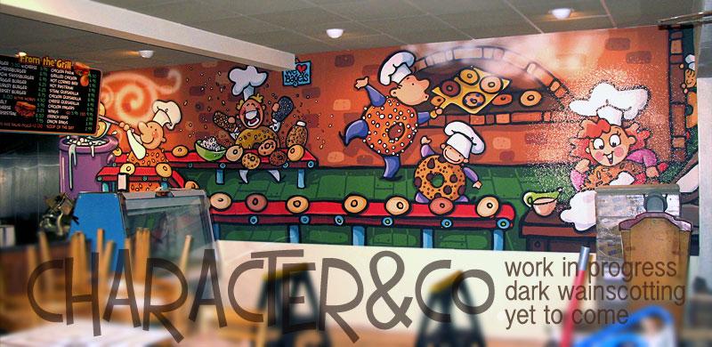 custom painted mural wallpaper for bagel shop