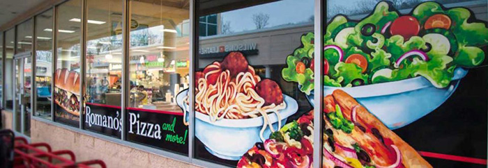 Custom window graphics for Vietnamese Pho restaurant