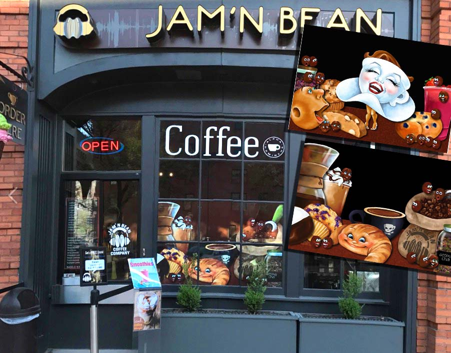 Custom painted vinyl window graphics for Coffee Shop