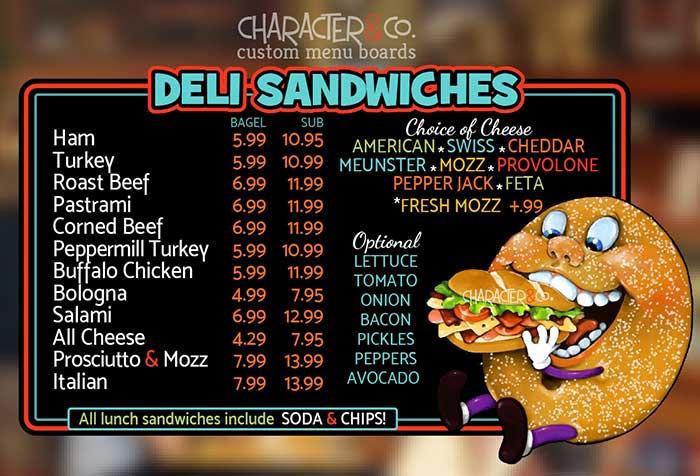 Cute bagel eating sandwich - custom menu board