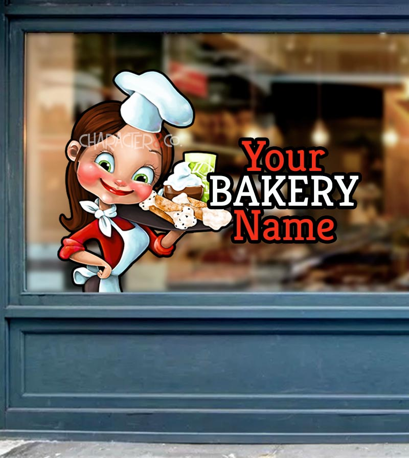 Bakery Storefront window graphics Cute Baker
