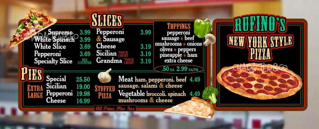 Custom Menu Board for Florida Pizzeria