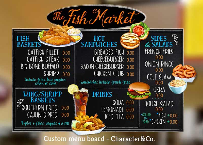 Custom Chalk Style Menu Board for Fish Market