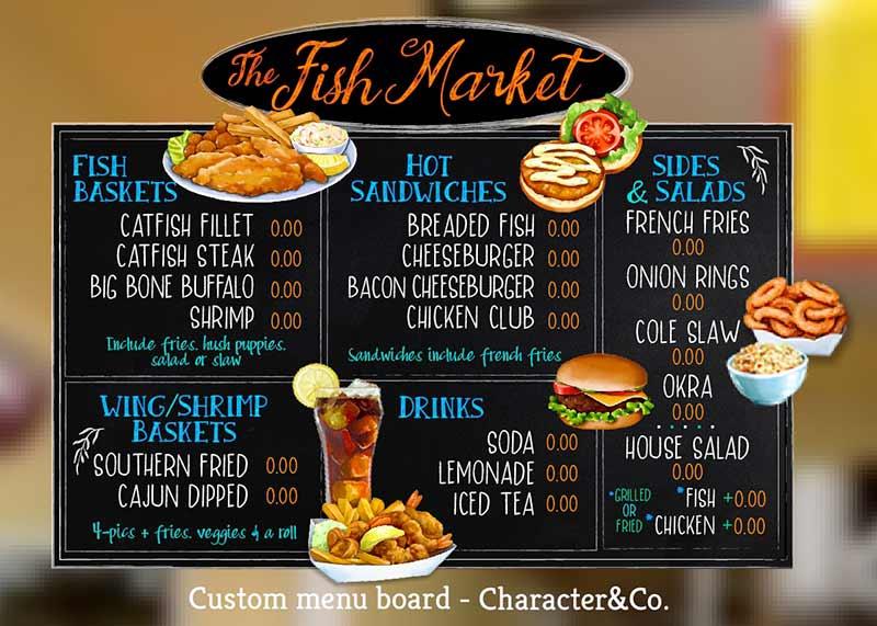 Custom Chalk Style Menu Board for Fish Market