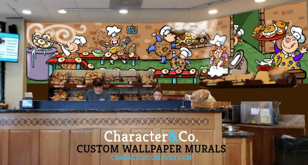 CUSTOM WALLPAPER MURAL Bagel Business Shop Character Co