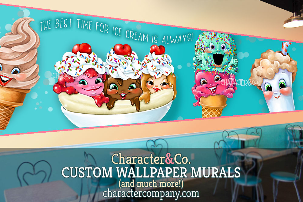 IC ICE CREAM wallpaper mural cute faces blue