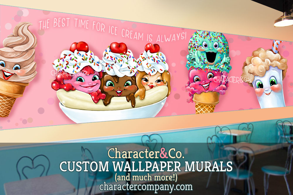 IC ICE CREAM wallpaper mural cute faces pink characterco