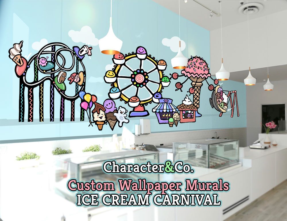 Ice Cream Carnival Mural Wallpaper Pastel Character Co