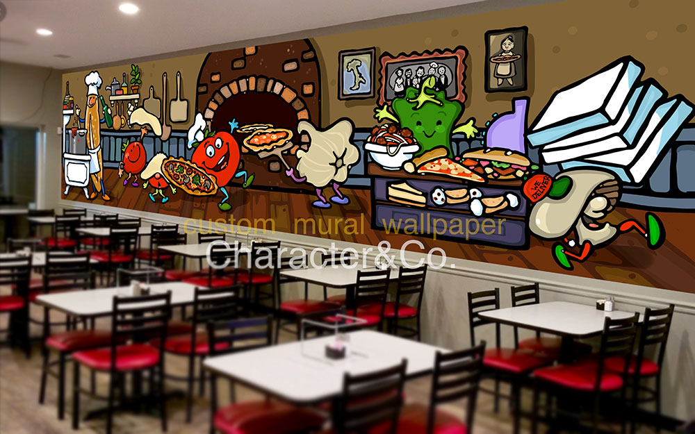Italian pizzeria wallpaper mural character co