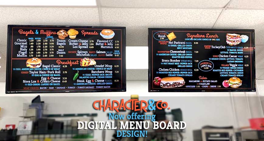 Best digital menu board designs for bagel shop by Character&Co.