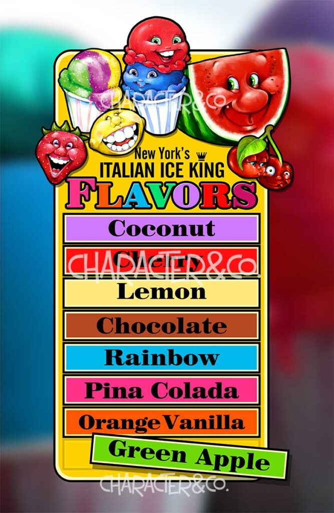 Italian Ice Flavors Menu Board Character Co