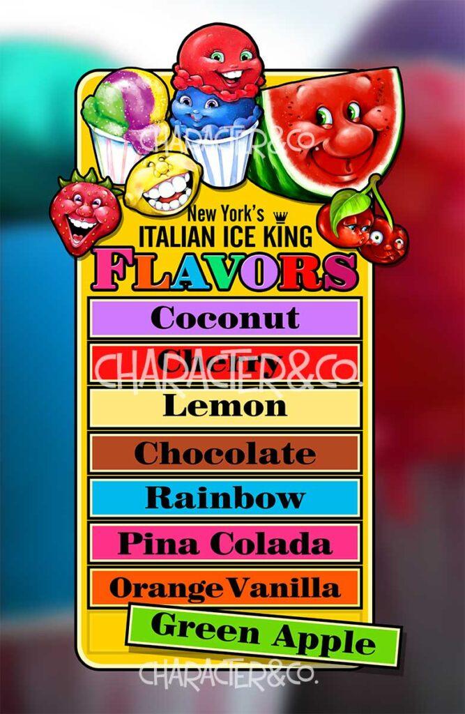 Italian Ice Flavors Menu Board Character Co