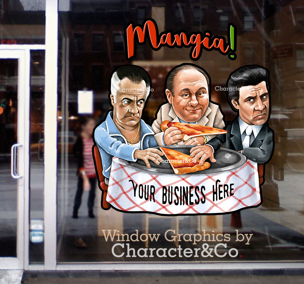 Window Graphic Italian Pizzeria Sopranos Godfather Character Co