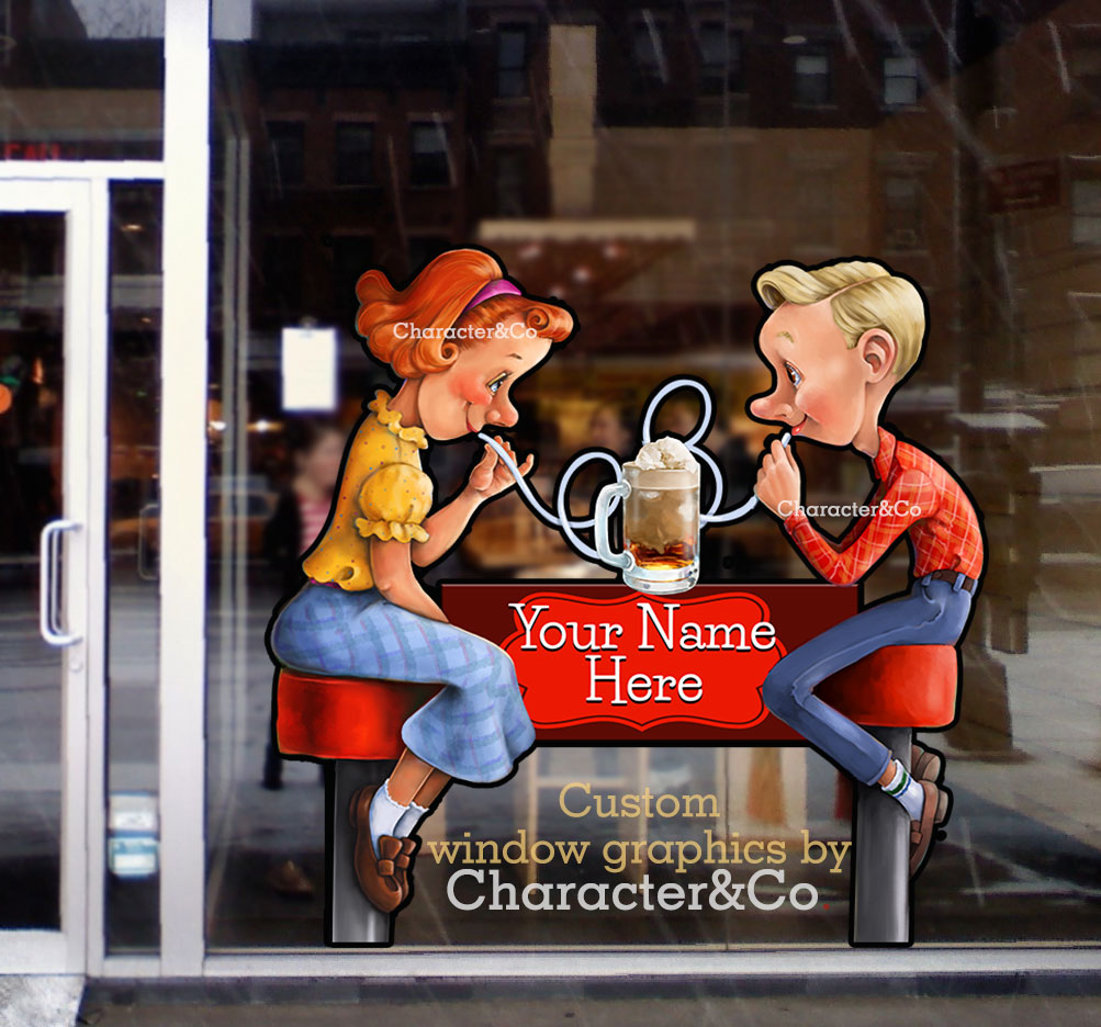 Ice Cream Shop Window Graphic 1950s vintage retro boy girl character co