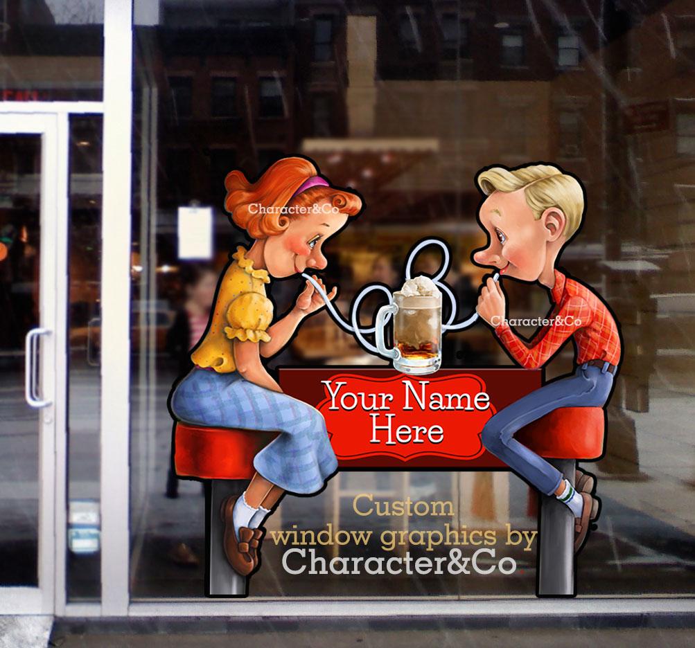 Ice Cream Shop Window Graphic 1950s vintage retro boy girl character co