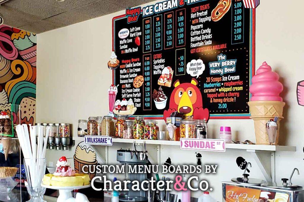 Happy Bear Ice Cream custom menu board