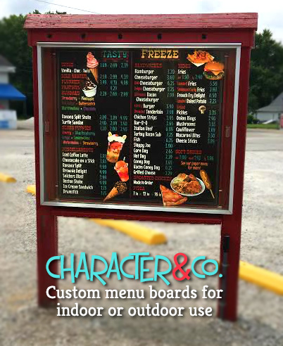 Custom Menu Board Ice Cream Shop exterior use by Character Co