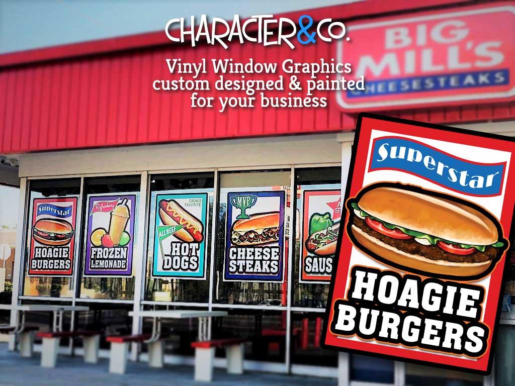Custom Painted Vinyl Window Graphics Cheesesteak Restaurant by Character Co