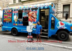 Italian Ice Truck Design with custom menu board by Character Co.