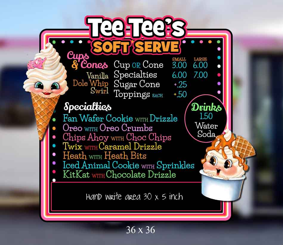 Cute Ice Cream Menu Board for Ice Cream Truck byCharacter Co